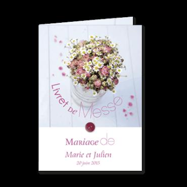 Livret de messe ou mariage personnalisable pot de fleurs for Livret des fleurs