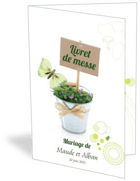 Livret de messe ou de mariage personnalisable pot de fleurs for Livret des fleurs